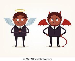 ángel, y, diablo, americano africano, hombre de negocios, oficinistas, characters., bueno, y, bad., vector, plano, caricatura, ilustración