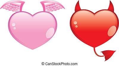 ángel, y, diablo, corazones