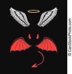 ángel, y, diablo, traje, elements., bueno, y, bad., vector, plano, caricatura, ilustración