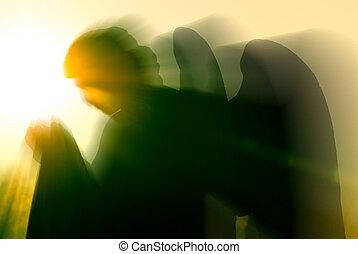 ángel, y, intenso, luz