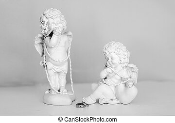 ángeles, estatuas, dos