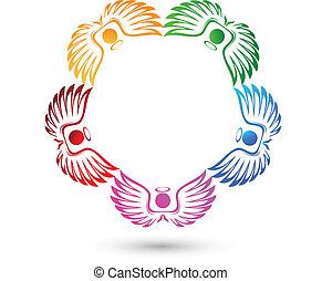 ángeles, trabajo en equipo, logotipo, vector