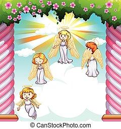 ángeles, vuelo, en, el, cielo