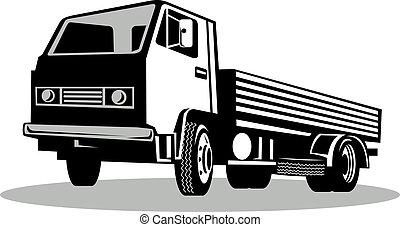 ángulo, aislado, camión, bajo, plano de fondo, blanco, visto