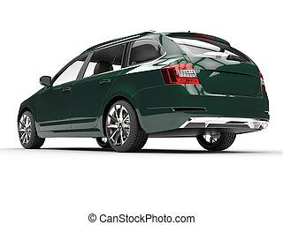 ángulo, automóvil de familia, -, verde oscuro, bajo, tiro