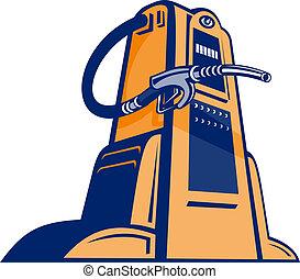 ángulo, boquilla, bomba gasolina, gasolinera, retro, visto,...