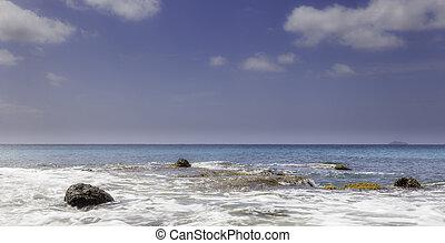 ángulo, de par en par, tropical, océano, tiro