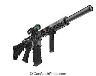 ángulo, ejército, moderno, -, asalto, bajo, rifle, tiro