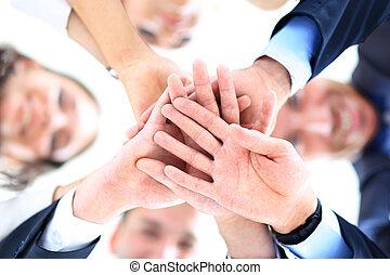 ángulo, empresarios, bajo, grupo pequeño, unión, manos,...