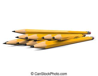 ángulo, lápices, -, primer plano, afilado, tiro, bajo