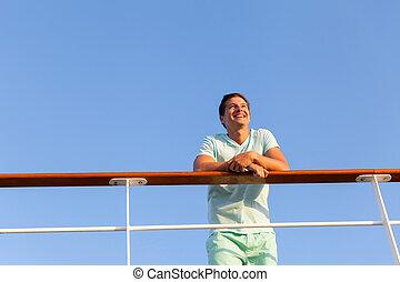 ángulo, lejos, mirar, bajo, vaya barco, hombre, vista