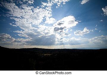 ángulo, rayos de sol, nuevo, nubes, de par en par, cielo, fe...