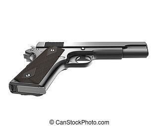 ángulo, semi, vendimia, -, bajo, pistola, automático, vista