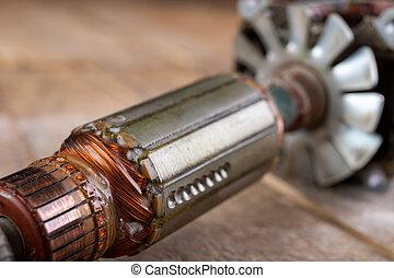 ángulo, sobrante, motor, eléctrico, rotores, workbench., grinders., partes