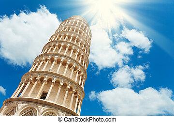 ángulo, torre, bajo, propensión, pisa