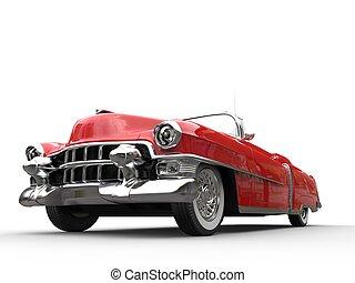 ángulo, vendimia, -, bajo, coche, tiro, rojo