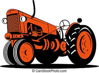 ángulo, vendimia, bajo, naranja, tractor, vista