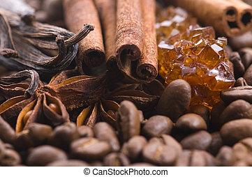 ánizs, vanília, ingredients., coffe., beens, coffe, illat, fahéj, cukor