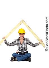 ápice, constructor, hembra, techo, madera