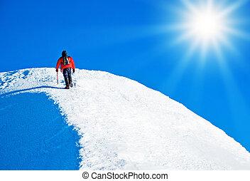 ápice, escalador, alcançar