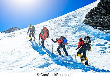 ápice, grupo, escaladores, alcançar