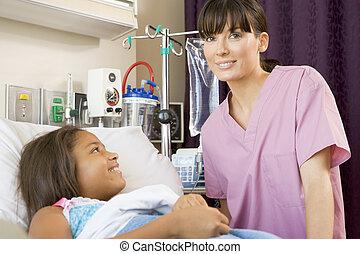 ápoló, átvizsgálás, feláll, képben látható, young türelmes