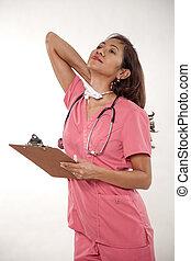 ápoló, ázsiai, bájos, doktornő
