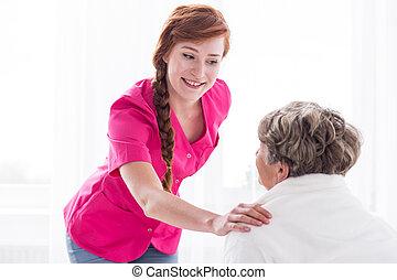 ápoló, és, öregedő woman
