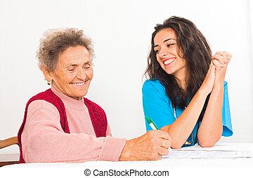 ápoló, ételadag, öregedő, jegyzék, helyett, öregek otthona