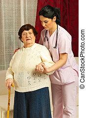 ápoló, ételadag, beteg, idősebb ember, otthon