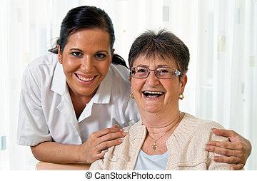ápoló, alatt, idős, törődik, a, öregedő, alatt, altenhei