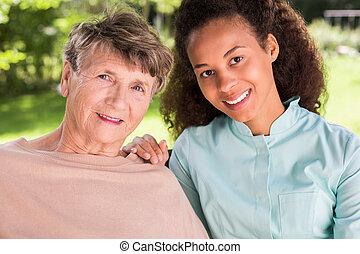 ápoló, barátság, retiree, között