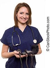ápoló, barátságos orvos