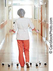 ápoló, kórház, medikus, fiatal, cseppszámlálók