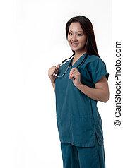 ápoló, kifejezés, ázsiai, meglehetősen, barátságos