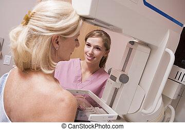 ápoló, mammogram, türelmes, elősegít, elszenvedő