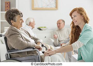ápoló, nő, kibír törődik