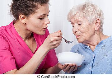 ápoló, táplálás, hölgy, idősebb