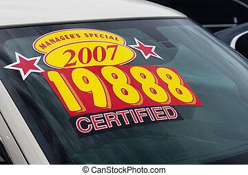 ár, böllér, képben látható, használt autó sorshzás