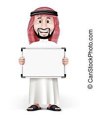árabe, 3d, homem, saudita, bonito