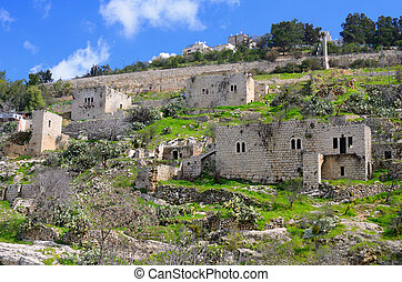árabe, abandonado, aldea