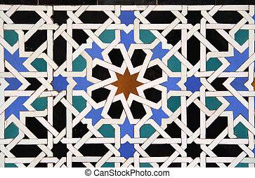 árabe, azulejo, fundo