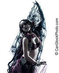 árabe, bailarín, el bailar del vientre, mujer