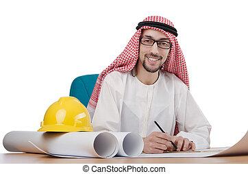 árabe, blanco, arquitecto, joven, aislado