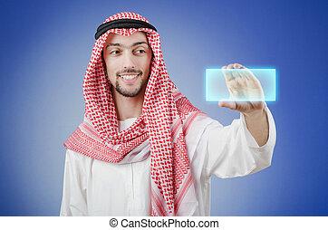 árabe, botones, planchado, joven, virtual