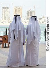 árabe, buidings, homens, dois, olhar, construção, anônimo,...