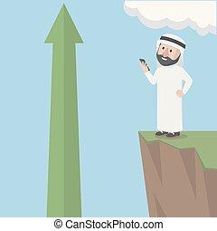 árabe, bussinessman, olhar, lucro
