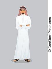 árabe, carácter, imagen, hombre