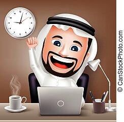 árabe, carácter, trabajando, hombre