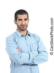 árabe, casual, hombre, posar, con, cruzó brazos